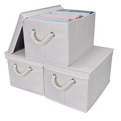 StorageWorks Storage Bins with Lids, Decorative Storage Boxes with Lids and Cotton Rope Handles, Mixing of Beige, White & Ivory, Jumbo, 3-Pack (Storage Big Lids Boxes With)