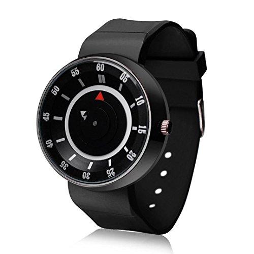 Tenworld Men's Luxury Concept Stainless Steel Analog Quartz Silica Gel Band Sport Wrist Watch (Black)