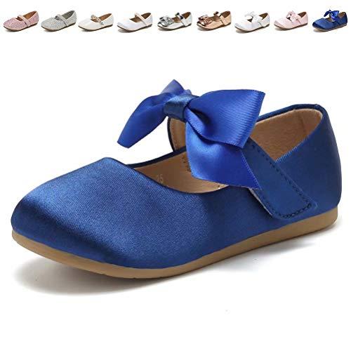 CIOR Toddler Girls Ballet Flats Shoes Ballerina Princess Dress Bowknot Jane Mary Wedding Party,VGZA3,S.Navy,25 (Navy Toddler Dress Shoes Girls)