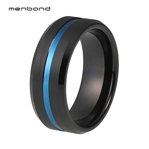 - Black Blue Rings | Men's Tungsten Carbide Rings | Grooved and Beveled Finish Rings (8mm)