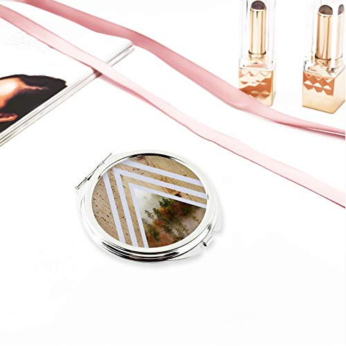Circular Make Up Mirror Small Fold Planar Mirror for Purse Pocket Forest -