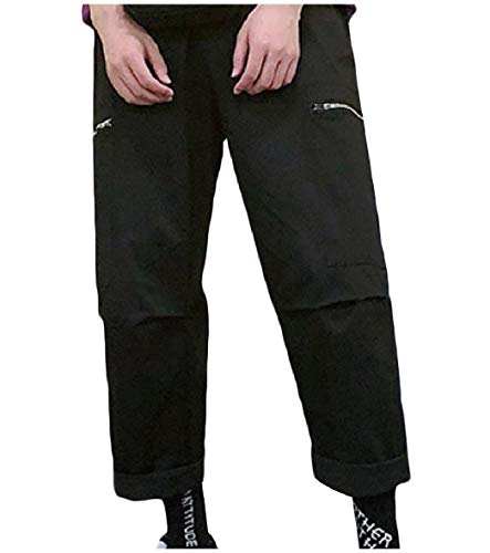 Tootless-Men Pockets Washed Elastic Casual Straight Leg Rip Stop Trouser Black M