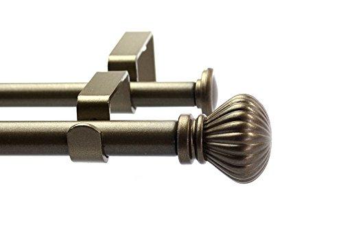 - Urbanest Fluted Ball Adjustable Double Drapery Curtain Rod Set, 5/8