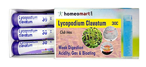Homeopathy Lycopodium Clavatum 30C Pills for weak Digestion, Acidity, Gas or Flatulence & Bloating. Pack of 3, Sealed Boiron 4g Tubes