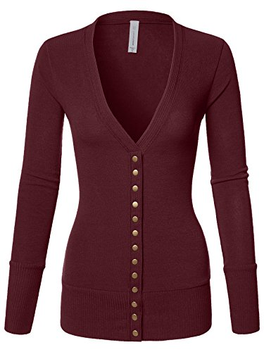 Luna Flower Women's V-Neck Snap Button Long Sleeve Soft Basic Knit Snap Cardigan Sweater Dark_Burgundy Small (Red Cotton Cardigan)