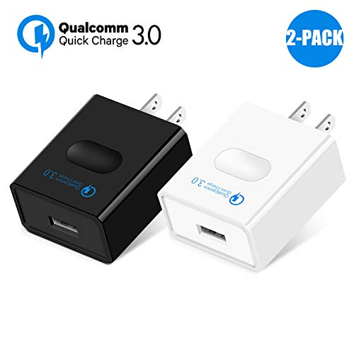 Quick Charge 3.0 18W USB Wall Charger, 2 Pack Charging Plug Universal Home Travel Power Adapter,Quick Charging with Smart IC(QC 2.0 Compatible) for Galaxy,Note,iPhone,iPad,LG,Nexus,Qualcomm Certified