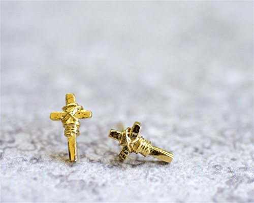 (Small Stud Earrings, 14K Gold Plated OR Sterling Silver Tiny Post Earrings, Cross Shaped, Handmade Designer Jewelry)
