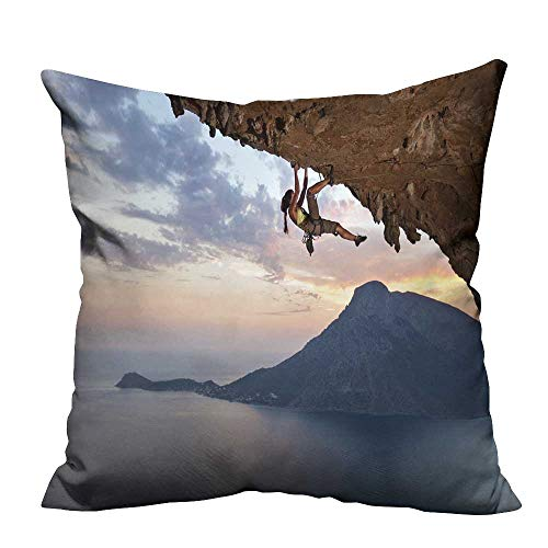 fengruihome Home DecorCushion Covers Young Female Rock Climber at Sunset kalymnos isl Greece Perfect for Travel 27.5x27.5 inch(Double-Sided Printing)