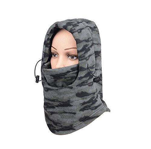 Magic Ski System - TTYY Windproof Mask Face Double Layers Thick Warm Neck Warmer for Ski Riding Outdoor Sports, Gray