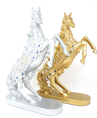 (Standing Horse Statue - Playing Horse Sculpture - Horse Statues for Home Kitchen Office Gifts - 14.5 Inch Tall - Silver Gold Color (Silver))