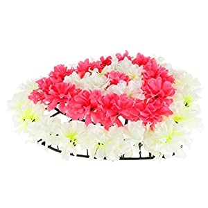 Fityle Handmade Flowers Wreath Cemetery Memorial Flower Wreath Funeral Supplies- Heart Shaped 6