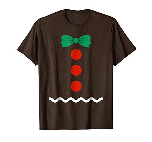 Mens Gingerbread T Shirt Cute DIY Christmas Costume T Shirts 2XL Brown