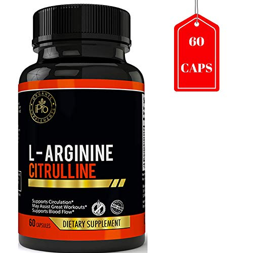 Flow 60 Caps - iPro Organic Supplements Nitric Oxide L-Arginine Citrulline 60 Caps for Men & Women - Boost Sexual Vitality & Performance, Strength, Muscles, Blood Flow, Energy, Workout, Stamina Booster, 1340mg Pills
