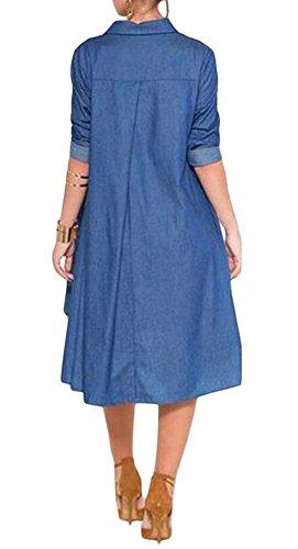 EOZY Robe Bleu Femme Chambre Mi-Longue Évasé Découpée Manche Longue