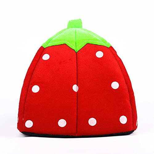 Echo Paths Strawberry Soft Tent Bed Cute Sponge Puppy Cat Cave Dog House for Pets Red XS (10.210.20.8 inch) by Echo Paths (Image #4)