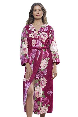 Dynasty Robes Women's Printed Cotton Long Robe With Kimono Collar-Splendid ()