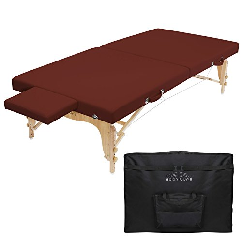 Saloniture Portable Physical Therapy Massage Table – Low to Ground Stretching Treatment Mat Platform – Burgundy