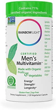 Men's Multivitamin Certified Organics- Antioxidants & Probiotics, Supports Energy, Liver Health, and Digestion- 120 Capsules (Packaging May Vary)