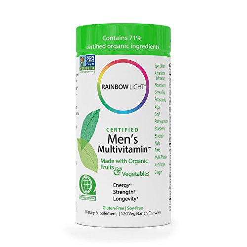 Rainbow Light - Certified Men's Multivitamin - Certified Organic, Provides Probiotic and Antioxidant Support, Supports Energy, Liver Health, and Digestion in Men; Gluten-Free 120 Count (Best Organic Vitamins For Men)