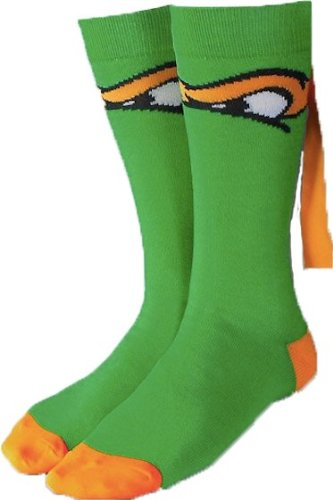 Teenage Mutant Ninja Turtles Socks (Teenage Mutant Ninja Turtles MICHELANGELO Orange MASKED CREW SOCKS)