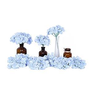 Artificial Flowers 10pcs Artificial Hydrangea Silk Centrepieces and Arrangement Real Touch Flowers for Home Decor Wedding Parties (sky blue) 7