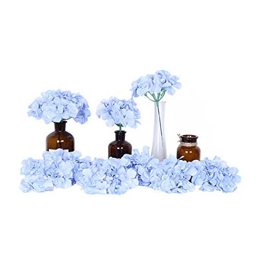 Artificial Flowers 10pcs Artificial Hydrangea Silk Centrepieces and Arrangement Real Touch Flowers for Home Decor Wedding Parties (sky -