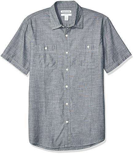 Amazon Essentials Men's Standard Slim-Fit Short-Sleeve Chambray Shirt, Grey, XX-Large (S/s Button Up Shirt)