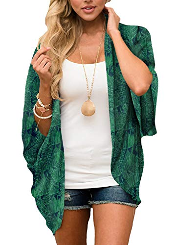 Women's Floral Kimono Cardigan Summer Loose Shawl Chiffon Beach Blouse Cover up 3X-Large Deep Green