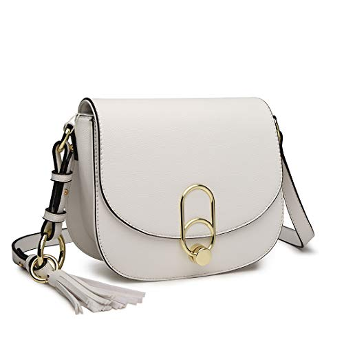 (Miss Lulu Women Cross body Bag Fashion Tassel Decoration Zipper Handbags Flap with Lock Closure Shoulder Bag (1831 White))