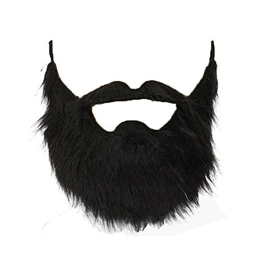 Lautechco® 3pcs Fake Beard Black Bearded Man Funny Mustache Beard Flannel Halloween Party Props -