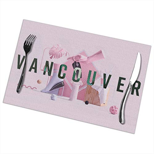 Efbj Washable Placemats for Kitchen Table Dining Room Decor, Vancouver Fashion Print Table Mats Rectangle, 6 PCS