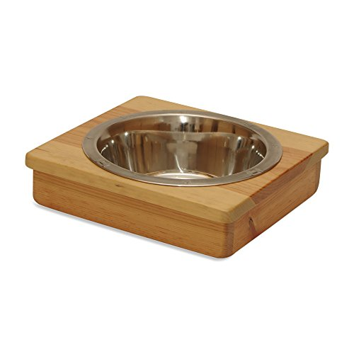 (OFTO Raised Dog Single or Double Bowls - Solid Wood Cat and Dog Bowl Stands, with Embossed Stainless Steel Bowl(s) -Large, Medium, and Universal Sizes - Eco-Friendly and Non-Toxic - Made in the USA)