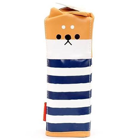 Lindo estuche lápices azul marino blanco rayas cara perro de ...