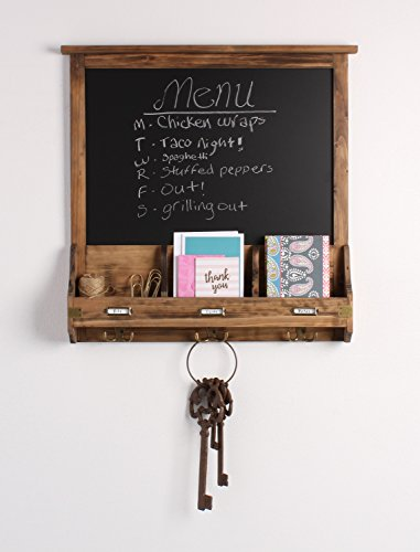 Kate and Laurel 209263 Stallard Decorative Rustic Wood Chalkboard Home Wall Organizer,Rustic Brown by Kate and Laurel