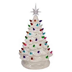 Tabletop Ceramic Lighted White Christmas Tree 19