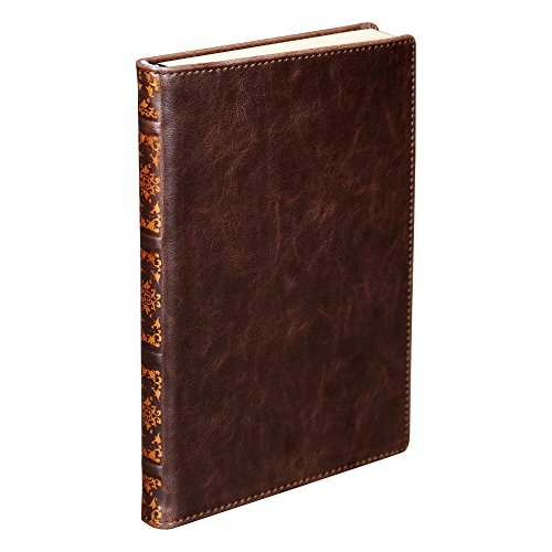 Hardbound Journal - Samsill 22350 Antique Classic Size Writing Notebook, Hardbound Cover, 5.25 Inch x 8.25 Inch, 100 Vintage Look Ruled Sheets (200 Pages), Dark Brown (Diary, Journal)