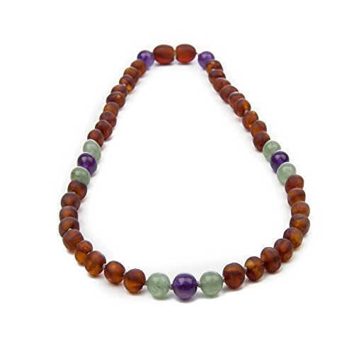 The Art of Cure Premium Certified Raw Cognac Baltic Amber & Semi-Precious Aventurine, Amethyst Teething Necklace, 4 color choices- 12.5 inches (adventurine) (Cognac Premium)