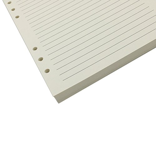 Chris.W 80 Sheets A5 Size Lined 6-Holes Traveler's Notebook Planner Filler Papers/Journal Dairy Inserts Refills/Loose-leaf Binder Paper, Beige Color(Ruled)