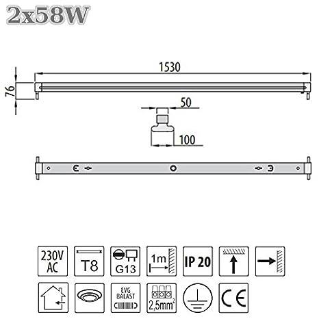 Leuchte Lichtleiste EVG geeignet f/ür Leuchtstoffr/öhren 1x T8 G13 120cm B/ürolampe Deckenleuchte B/ürobeleuchtung