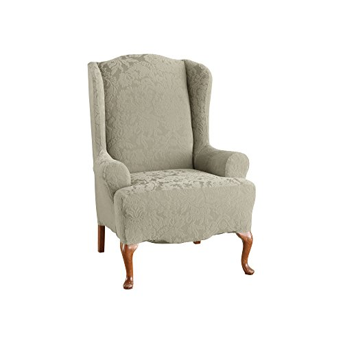 Sure Fit Stretch Jacquard Damask   Wing Chair Slipcover   Sage (SF39616)