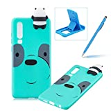 TPU Case for Huawei P30,Rubber Case for Huawei P30,Herzzer Stylish Big Eyes Bear Print Ultra Slim Soft Silicone Gel Bumper Shockproof Flexible Case