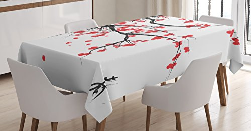 Ambesonne Nature Tablecloth, Sakura Blossom Japanese Cherry Tree Garden Summertime Vintage Cultural Print, Dining Room Kitchen Rectangular Table Cover, 60