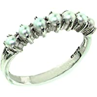 925 Sterling Silver Cultured Pearl Womens Eternity Ring