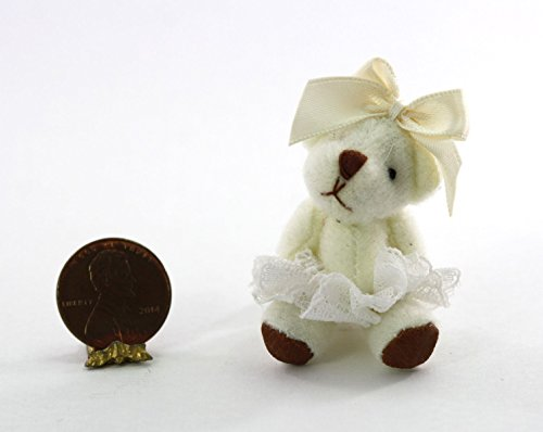 Dollhouse Miniature 1:12 White Ballerina Teddy Bear with Lace Skirt & Bow from Dollhouse Miniature