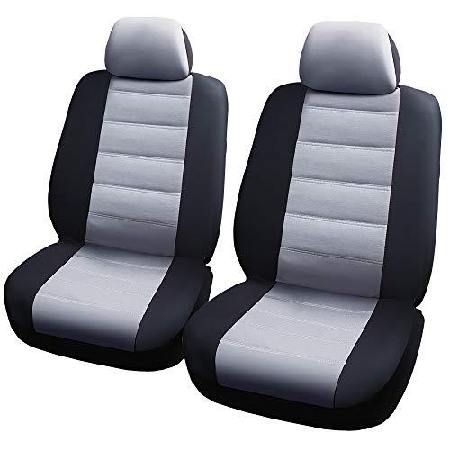 Aoile Car Seats Protector Seats Cover Elastic Mesh Material Composite 2mm Sponge Seats Cover 4 piece set - black grey General model: