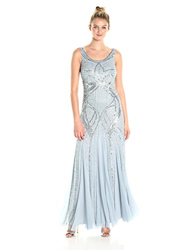- Adrianna Papell Women's Long Beaded Tank Gown, Blue Heather, 12