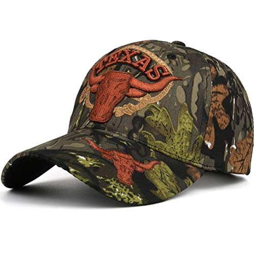 AKIZON Camouflage Texas Longhorn Hat Baseball Cap Adjustable Embroidery Hunter Fishing ()