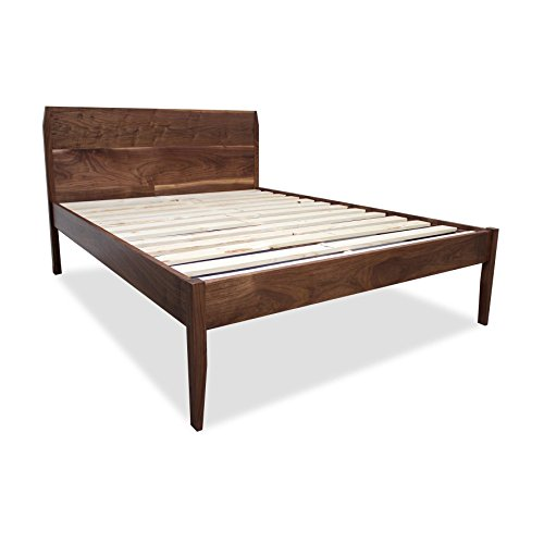 Solid Walnut Mid-Century Modern Platform Bed Frame and Headboard