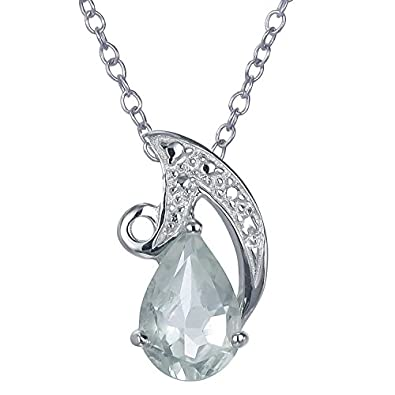 Sterling Silver Green Amethyst Pendant 1.10 CT With 18 Inch Chain