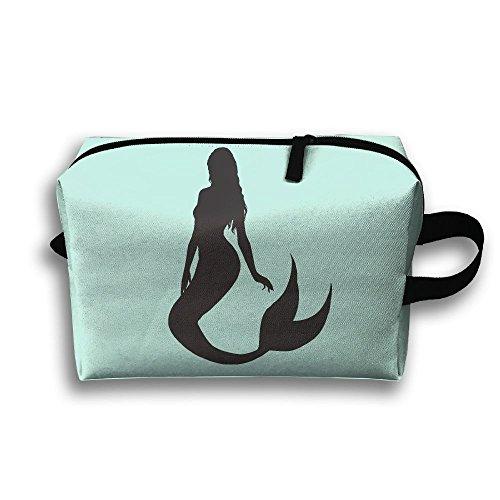 Travel Jewelry Handbag Black Mermaid For Women Zipper Cosmetic Case